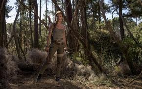 Обои cinema, film, Lara Croft, girl, woman, 2018, movie, Alicia Vikander, forest, Tomb Raider