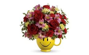 Картинка розы, альстрёмерия, букет, белый фон, ваза, цветы