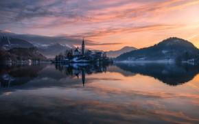 Картинка свет, вечер, Словения, Бледское озеро, озеро Блед
