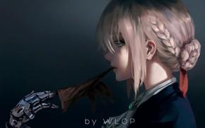 Обои girl, fantasy, anime, blue eyes, blonde, digital art, artwork, braids, glove, anime girl, Wlop, Fate ...