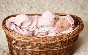 Картинка корзина, ребенок, маленький, костюм, спит, младенец, sleep, basket, wicker, Infants
