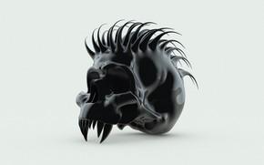 Картинка черный, череп, шипы, клыки, ирокез, мутант, глазницы