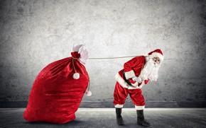 Картинка красный, стена, праздник, шапка, сапоги, большой, Рождество, подарки, Новый год, перчатки, шуба, борода, мешок, Дед …
