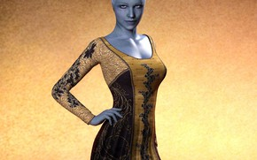 Картинка синяя кожа, девушка, платье