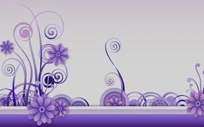 Картинка цветы, фон, завитки, графика, текстура