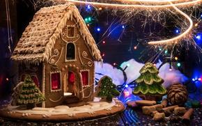 Картинка дизайн, праздник, Новый Год, Рождество, выпечка, пряничный домик