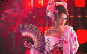 Картинка девушка, веер, прическа, наряд, азиатка