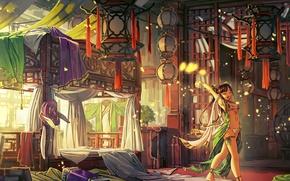 Картинка девушка, свет, комната, мебель, кровать, утро, фонари, кимоно, зевает, спальня, art, ткани, балдахин, подвески, сонная, …