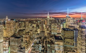 Картинка США, Нью-Йорк, панорама, дома, ночь, огни