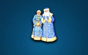 Картинка Зима, Минимализм, Фон, Новый год, Снегурочка, Праздник, Дед Мороз, Настроение