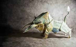 Обои бумага, оригами, бык