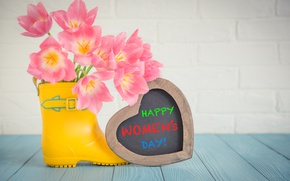 Картинка праздник, букет, love, сердечко, 8 марта, розовые тюльпаны