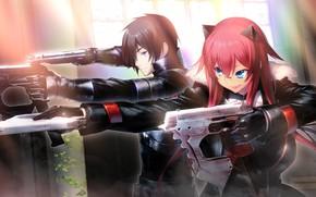 Картинка девушка, оружие, аниме, арт, парень, двое, манга, Tokyo Necro