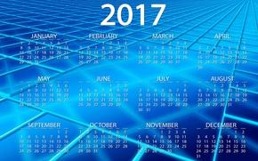 Обои 2017, новый год, месяца, линии, год, новый 2017 год, фон, клетки, дата, вектор, синий, голубой, ...