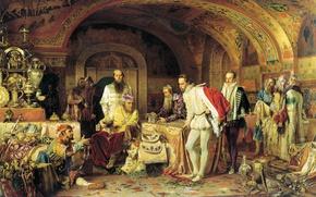 Картинка Александр ЛИТОВЧЕНКО, Иван Грозный, показывает сокровища английскому послу Горсею