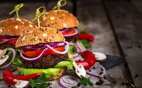 Картинка грибы, лук, перец, гамбургер, булка, салат