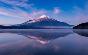Картинка небо, пейзаж, отражение, гора, вулкан