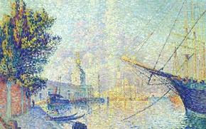 Картинка город, корабль, картина, причал, Поль Синьяк, Таможня. Венеция