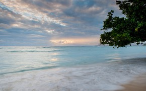Картинка море, пляж, закат, природа
