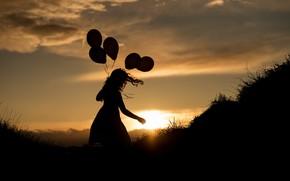 Картинка девушка, ночь, шары