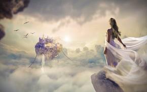 Обои небо, мечта, девушка, облака, свет, полет, птицы, город, туман, скала, рендеринг, замок, фантазия, фантастика, обрыв, ...