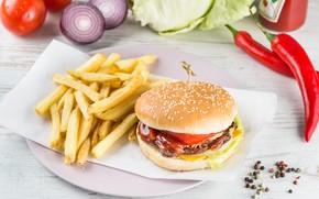 Картинка Гамбургер, Перец, овощи, помидоры, капуста, картофель фри