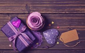 Картинка подарок, роза, лента, сердечки, украшение, декор, Valentine's Day, кекс, roses, violet, Elena Schweitzer