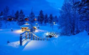 Картинка зима, снег, деревья, мост, деревня, сугробы, Финляндия, Finland, Lapland, Лапландия, Саариселькя, Kakslauttanen Arctic Resort, Saariselkä