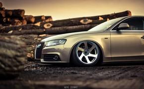 Картинка Audi, Авто, Ауди, Диск, Лес, Машина, Колесо, Седан, Автомобиль, Sedan, Audi A4, Бревна, Немец, Mike …
