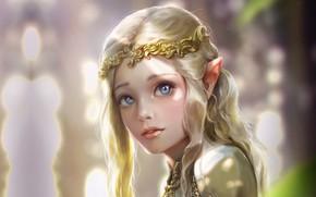 Картинка Bluish Salt, арт, принцесса, фэнтези, девушка, эльфийка, эльф, Elven princess