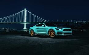 Обои Mustang, Ford, Blue, Bridge, Night, Wheels, Rohana