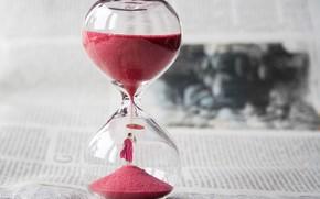 Картинка часы, человек, газета, песочные