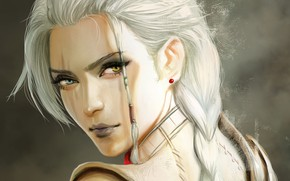 Картинка взгляд, фэнтези, девушка, арт, блондинка, лицо, коса