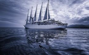 Обои паруса, корабль, море