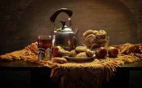 Обои еда, яблоки, печенье, натюрморт
