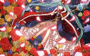 Обои vocaloid, жезл, голубые волосы, мантия, корона, Hatsune Miku, кристалл, кринолин, вокалоид, снег, магия, алые розы