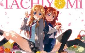 Картинка яблоко, лепестки, галстук, фрукты, голубые глаза, школьницы, овощи, спина к спине, Chiyo Sakura, Shigatsu wa …
