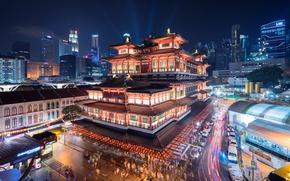 Картинка здания, Сингапур, храм, музей, ночной город, Singapore, Buddha Tooth Relic Temple and Museum