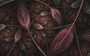 Обои абстракция, фон, листья, фрактал, узор