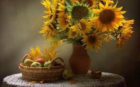 Обои яблоки, корзина, скатерть, подсолнухи, натюрморт, жёлтые, стол, ваза
