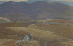 Картинка пейзаж, дом, картина, Даниэль Гарбер, Одинокая ферма