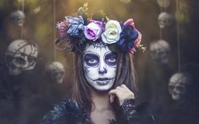 Обои Day of the Dead, грим, Kobi Alony, девушка, черепа, венок
