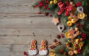 Картинка украшения, ягоды, елка, Новый Год, печенье, Рождество, сердечки, снеговики, фрукты, орехи, Christmas, wood, hearts, Merry …