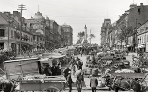 Обои США, город, рынок, 1900-й год, ретро