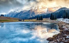 Картинка зима, вода, деревья, пейзаж, горы, природа, озеро, Альпы