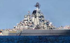 Картинка крейсер, тяжелый, атомный, ракетный, петр великий