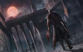 Картинка ночь, луна, меч, лезвие, ружье, пила, полнолуние, охотник, art, rpg, мушкет, bloodborne