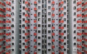 Картинка город, дом, окна, Китай, вешалка, вешалки, Гон-Конг, clothes hanger, сушилки