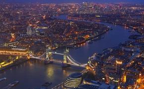 Картинка огни, река, Англия, Лондон, панорама, маст