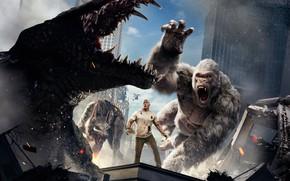 Картинка City, Action, Fantasy, Fire, Flame, White, Wolf, 2018, Dwayne Johnson, EXCLUSIVE, Movie, Kate, Film, Crocodile, …